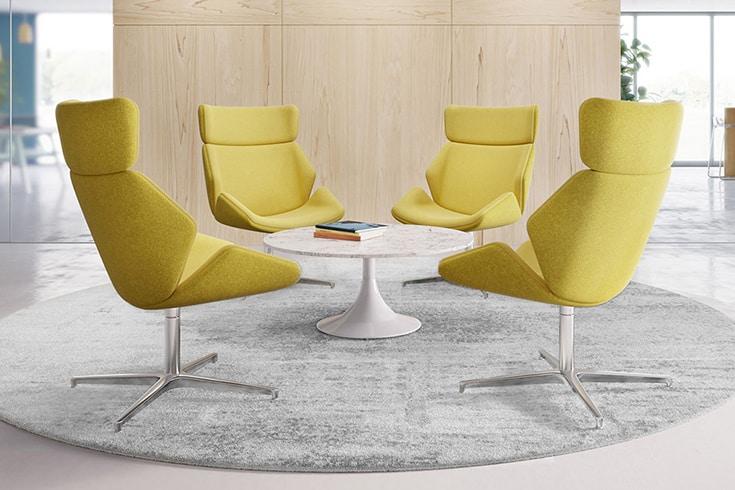 skara lounge yellow chairs