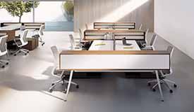 shared desk workspace