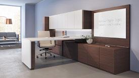 single desk workspace