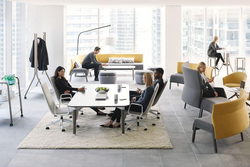 Modern office with open space, dialog table, couches, lounges
